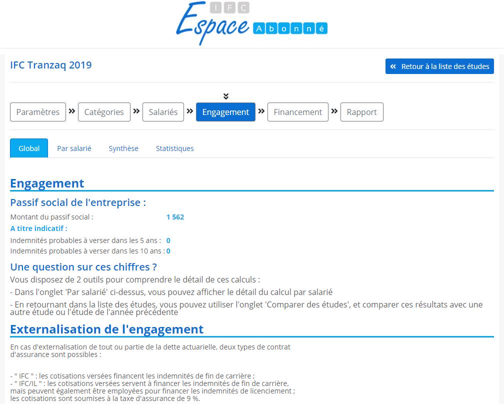 Copie écran de la page engagement