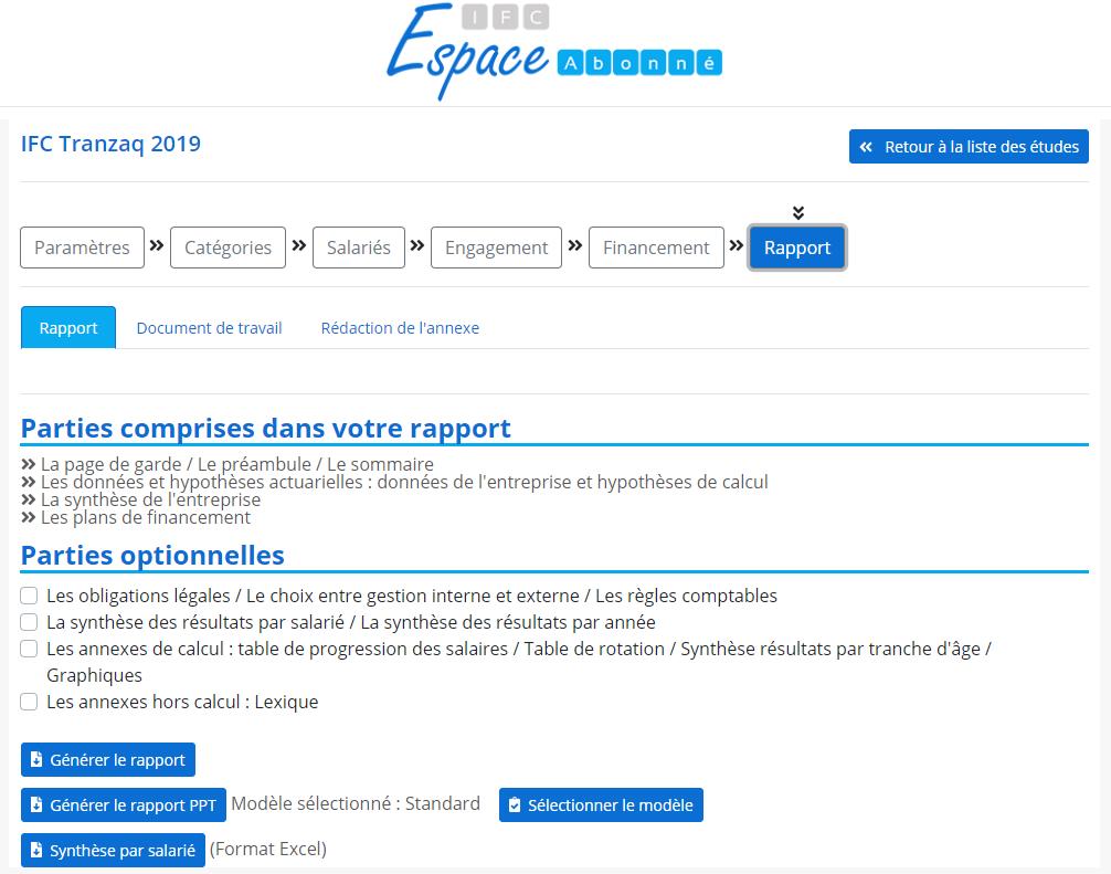 Copie écran de la page rapport